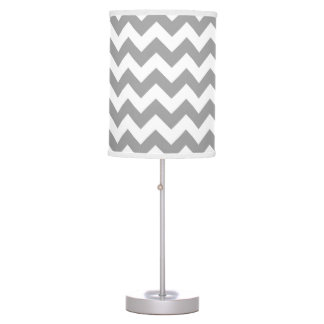 Dark Gray White Chevron Zig-Zag Pattern Table Lamp