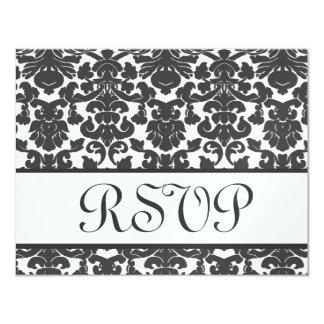 Dark Gray White Damask RSVP Wedding Response Card
