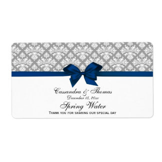 Dark Gray White Damask Water Label, Navy Bow