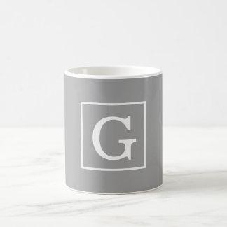Dark Gray White Framed Initial Monogram Basic White Mug