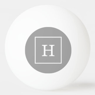 Dark Gray White Framed Initial Monogram Ping-Pong Ball