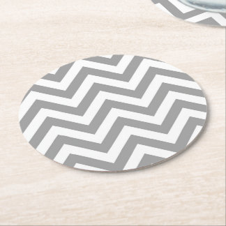 Dark Gray White Large Chevron ZigZag Pattern Round Paper Coaster