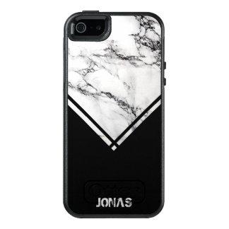 Dark Gray & White Marble Stone And Black Stripes OtterBox iPhone 5/5s/SE Case