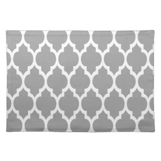 Dark Gray White Moroccan Quatrefoil Pattern #4 Placemat
