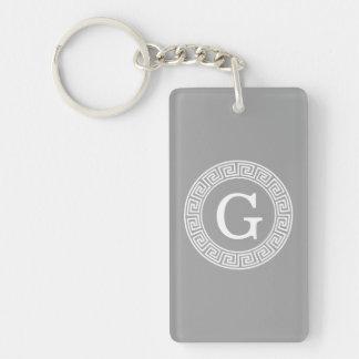 Dark Gray Wht Greek Key Rnd Frame Initial Monogram Double-Sided Rectangular Acrylic Keychain