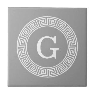 Dark Gray Wht Greek Key Rnd Frame Initial Monogram Tile