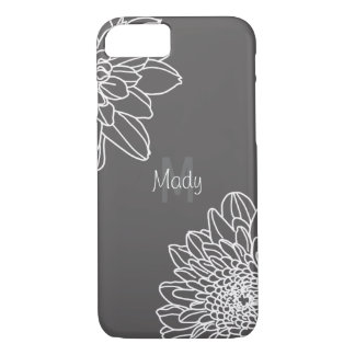 Dark Gray With Large White Flowers And Name iPhone 8/7 Case
