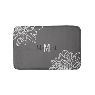 Dark Gray With White Flowers And Name Bath Mat