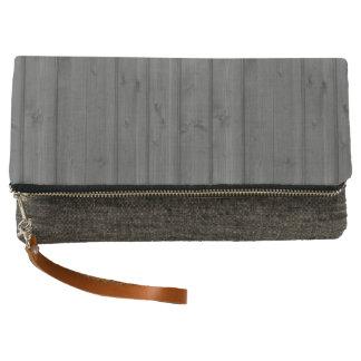 Dark Gray Wood Clutch