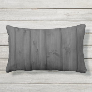 Dark Gray Wood Texture Outdoor Pillow