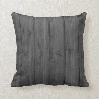 Dark Gray Wood Texture Throw Pillow