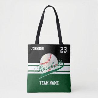 Dark Green and Black for a Baseball Team Tote Bag
