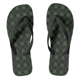 Dark Green and Black Motif on Flip Flops