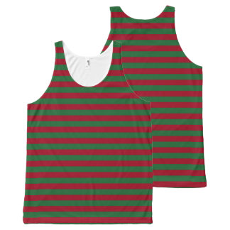 Dark Green and Burgundy Stripes All-Over-Print Tank Top