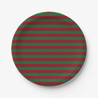 Dark Green and Burgundy Stripes Paper Plate