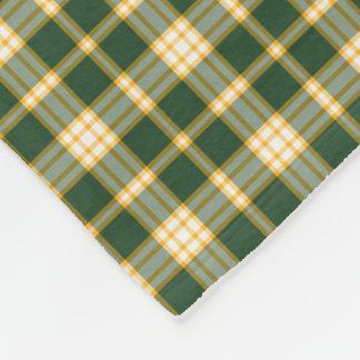 Dark Green and Gold Sporty Plaid Pattern Fleece Blanket
