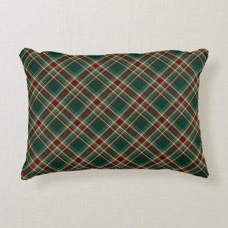 Dark Green and Maroon Christmas Plaid Pattern Accent Pillow