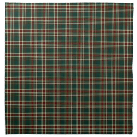 Dark Green and Maroon Christmas Plaid Pattern Printed Napkins