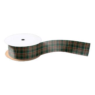Dark Green and Maroon Christmas Plaid Pattern Satin Ribbon
