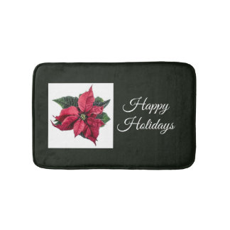Dark Green and Poinsettia Holiday Bath Mat