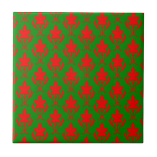 Dark Green And Red Ornate Wallpaper Pattern Tile