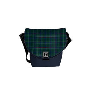 Dark Green and Royal Blue Duncan Clan Tartan Messenger Bags