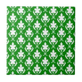 Dark Green And White Ornate Wallpaper Pattern Tiles