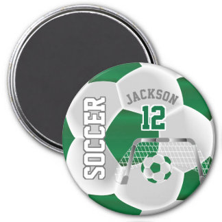 Dark Green and White Personalize Soccer Ball Magnet