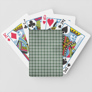 Dark Green and White Plaid Bicycle Playing Cards