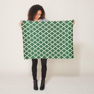 Dark Green and White Quatrefoil Pattern Fleece Blanket