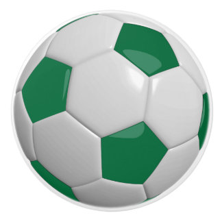 Dark Green and White Soccer Ball / Football Ceramic Knob
