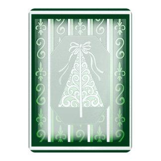 "Dark Green And White Swirls Stripes Christmas Tree 5"" X 7"" Invitation Card"
