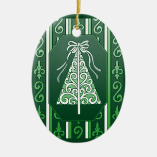 Dark Green And White Swirls Stripes Christmas Tree Ceramic Oval Ornament