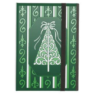 Dark Green And White Swirls Stripes Christmas Tree iPad Air Cover