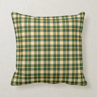 Dark Green and Yellow Gold Sporty Plaid Pattern Throw Pillow