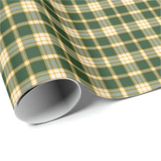 Dark Green and Yellow Gold Sporty Plaid Wrapping Paper