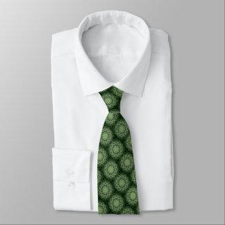 Dark Green Atomic Mandala Tie