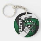 Dark Green, Black & White Volleyball Design Keychain