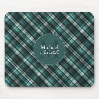 Dark Green (Blue Green) Plaid Striped Monogram Mouse Pad