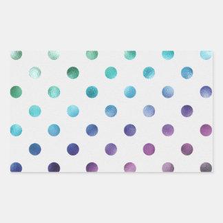 Dark Green Blue Purple Metallic Foil Polka Dot Rectangular Sticker