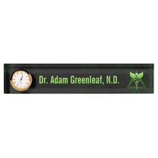 Dark Green Caduceus Alternative Medicine Deskplate Name Plate