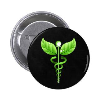 Dark Green Caduceus Alternative Medicine Medical 2 Inch Round Button