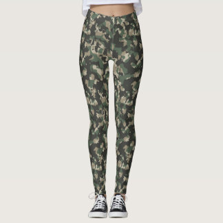 Dark Green Camouflage Leggings
