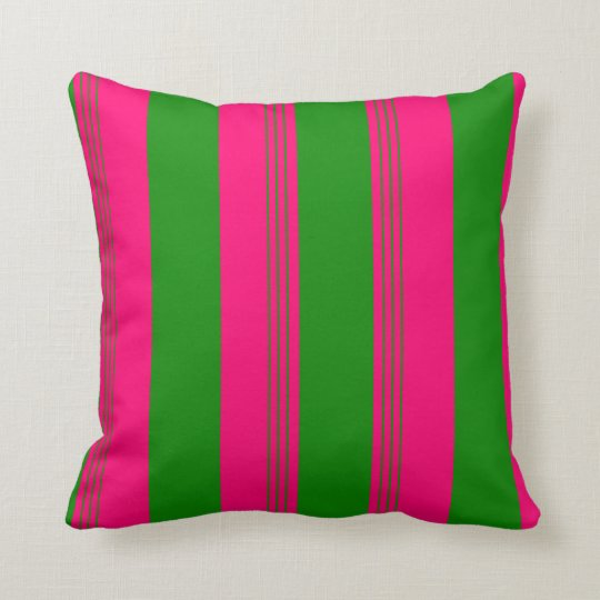 Dark Green Candy Striped & Solid Reversible Pillow