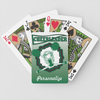 Dark Green Cheerleader   Personalize Bicycle Playing Cards