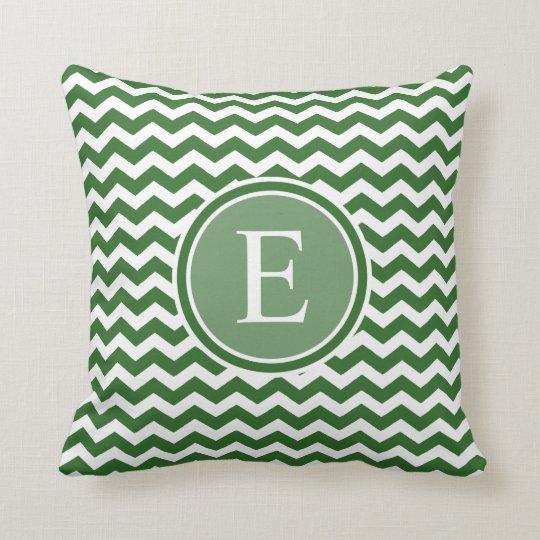 Dark Green Chevron Custom Monogram Throw Pillows