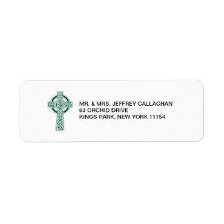 Dark Green Cross with Return Address Return Address Label