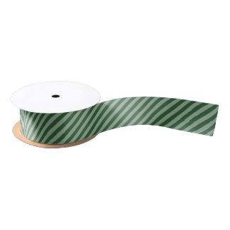 Dark Green Diagonal Stripes Satin Ribbon