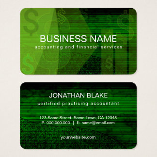 Dark Green Dollar Signs Abstract Accountant Business Card