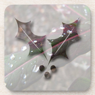 Dark Green Fireweed Leaf with Water Droplets Coasters